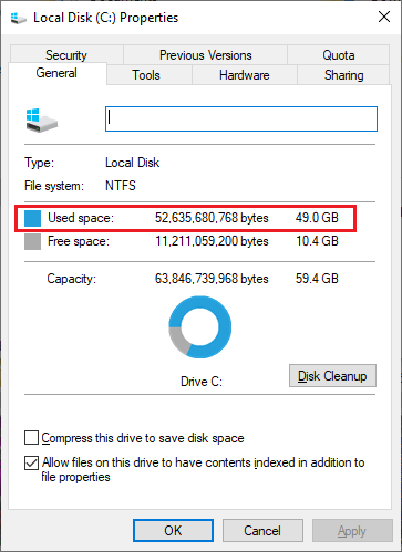 Used disk space after filling